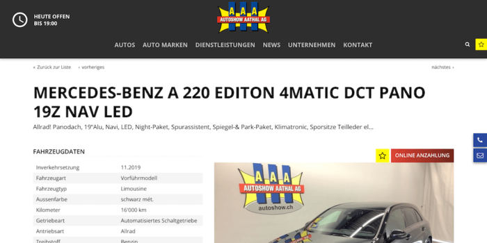 Autoshow Aathal - Online Anzahlung